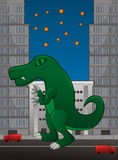 Dinosaur on city. Cute green rex dinosaur vector design illustration Stock Photos