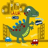 Dinosaur in the city funny animal cartoon,vector illustration. For t shirt and wallpaper or book royalty free illustration