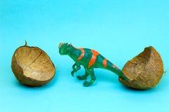 Dinosaur and coconut shell. Dinosaur birth , dinosaur egg, creative art stock image