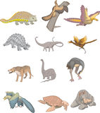 Dinosaur collection. Aepyornis maximus, andrewsarchus, andrias scheuchzeri, ankylosaurus and other on white background Royalty Free Stock Photography