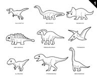 Dinosaur Coloring Book Cartoon Vector Illustration Set 1 Royalty Free Stock Photo