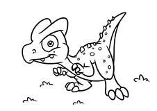 Dinosaur  coloring page cartoon Illustrations Royalty Free Stock Image