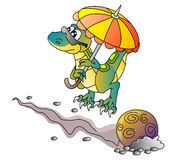 Dinosaur and comet. Vector illustration Stock Photography