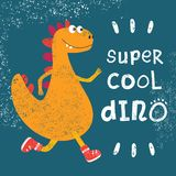 Fashionable grunge texture or print for children`s design. Dinosaur cool dude runs in fashionable sneakers. Vector illustration. Dinosaur cool dude runs in vector illustration