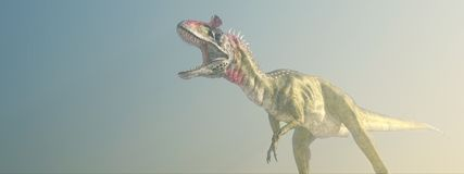Dinosaur Cryolophosaurus in the fog. Computer generated 3D illustration with the dinosaur Cryolophosaurus in the fog Stock Photography