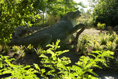 Dinosaur Crystal Palace Park. Dinosaur statues in Crystal Palace Park, South London UK stock photo