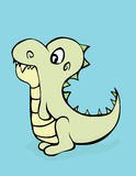 Dinosaur Cutie. A cute dinosaur with teeth showing on a blue background Royalty Free Illustration