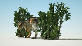 Dinosaur 3D render. 3D rendering of T-rex with natural green leaves Royalty Free Stock Photo