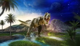 Dinosaur 3D render. Dinosaur flat art night mountain landscape with stars and bright moon Royalty Free Stock Photography