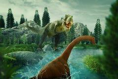 Dinosaur 3D render. Dinosaur scene of the two dinosaurs fighting each Stock Photo