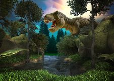 Dinosaur 3D render. Fantasy Landscape with dinosaur, 3d rendered landscape with mountains royalty free stock images