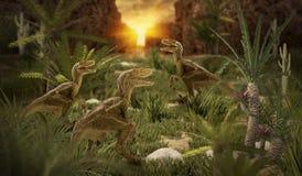 Dinosaur 3D render. Fantasy Landscape with dinosaur, 3d rendered landscape with mountains Royalty Free Stock Images