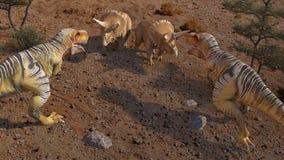 Dinosaur 3D Rendering. Scene of the giant dinosaur destroy the park. 3D Render Photo Royalty Free Stock Image