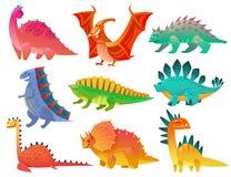 Dinosaur de dessin anim? Les enfants de Dino de nature de dragon jouent l'art coloré d'animaux de monstre de caractères sauvages  illustration libre de droits