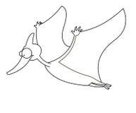 Dinosaur de vol noir et blanc Photo stock