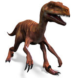 Dinosaur Deinonychus. 3D rendering with clipping path and shadow over white vector illustration