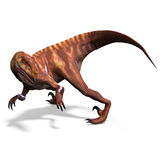 Dinosaur Deinonychus. 3D rendering with clipping path and shadow over white stock illustration