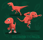 Dinosaur Deinonychus Cartoon Vector Illustration Royalty Free Stock Photography