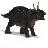 Dinosaur Diceratops. With Clipping Path over white vector illustration