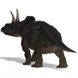 Dinosaur Diceratops. With Clipping Path over white stock illustration