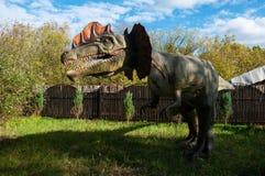 Dinosaur dilophosaurus. Model in full size stock photography