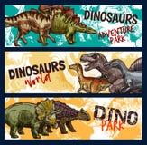 Dinosaur, dino and jurassic monster banners. Dinosaur world banners for dino adventure park design. Jurassic monsters sketch with tyrannosaurus rex, stegosaurus vector illustration
