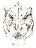 dinosaur dinosaurieteckningsblyertspennan skissar Royaltyfri Foto
