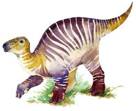 dinosaur Dinosaurievattenfärgteckning Dinosaurieillustration stock illustrationer