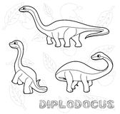 Dinosaur Diplodocus Cartoon Vector Illustration Monochrome Royalty Free Stock Photo