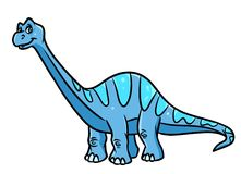 Dinosaur Diplodocus, herbivorous  cartoon illustration Stock Images