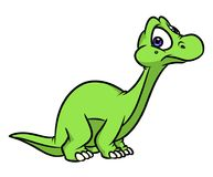 Dinosaur Diplodocus wonder cartoon illustration. Isolated image animal character vector illustration