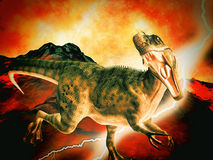 Dinosaur doomsday. With the lightning Stock Images