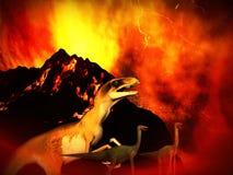 Dinosaur doomsday. The dinosaur doomsday - fantasy illustration stock illustration