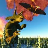 Dinosaur doomsday 3d rendering Royalty Free Stock Images