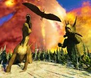 Dinosaur doomsday 3d rendering. Dinosaur doomsday on island 3d rendering Stock Photo