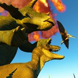 Dinosaur doomsday 3d rendering Royalty Free Stock Photography