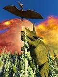 Dinosaur doomsday 3d rendering. Dinosaur doomsday on island 3d rendering Stock Photos
