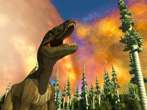 Dinosaur doomsday 3d rendering Stock Photography