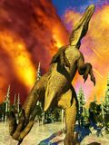 Dinosaur doomsday 3d rendering Royalty Free Stock Image
