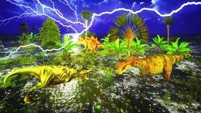 Dinosaur doomsday. With lightning strike Royalty Free Stock Photo