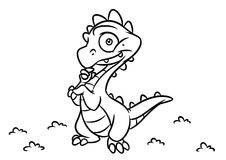 Dinosaur  dragon coloring page cartoon Illustrations Royalty Free Stock Photography