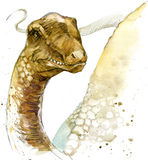 Dinosaur drawing watercolor. Royalty Free Stock Image