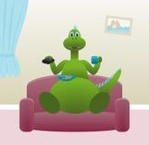 Dinosaur drinking tea at home Stock Photos