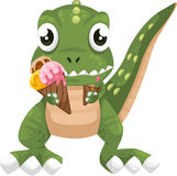 Dinosaur eating ice-cream vector. Illustration isolated cartoon dinosaur eating ice-cream on white background vector file Stock Images
