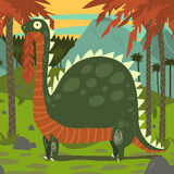 Dinosaur Eating Leaves. The vector illustration of funny brontosaurus eating leaves for games, ui, tablets, smart phones Stock Images