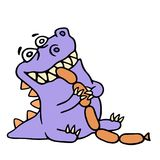 Dinosaur eats sausages. More food. Vector illustration. Royalty Free Stock Photography