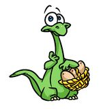 Dinosaur egg basket cartoon illustration Royalty Free Stock Photography