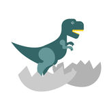 Dinosaur and egg. Cub Tyrannosaurus hatched from an egg. Little Royalty Free Stock Image