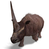 Dinosaur Elasmotherium. 3D rendering with. Clipping path and shadow over white vector illustration