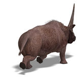 Dinosaur Elasmotherium. 3D rendering with Stock Photo